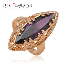 Huge rings for women 2015 Purple Crystal  Gold Tone Elegant Zircon Fashion Jewelry delicate Rings USA Size #7#8#9 JR2023