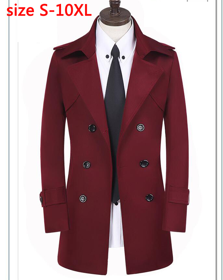 new arrival fashion Trench male men's autumn winter fashion double breasted overcoat medium-long coat plus size XS-10XL