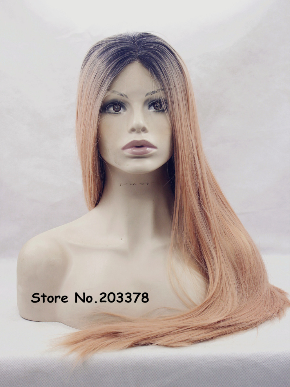 Natural Brazilian Two Tone Black Roots Ombre Copper Straight Heat Resistant Synthetic Hair Lace Front Wigs For Women<br><br>Aliexpress