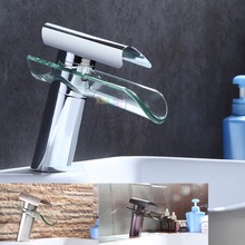 Bathroom Faucet, Advanced Modern glass waterfall contemporary Chrome Brass Bathroom basin sink Mixer waterfall Tap 2013 XP-007(China)