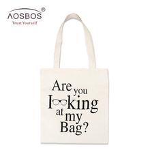 Aosbos Women Letter Print Canvas Shopping Bag Girls Large Reusable Grocery Bag Handbags Eco Friendly Portable Shoulder Bags Tote(China)
