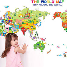 Colorful World Map Wall Sticker Decal Vinyl Animal Cartoon Wall Stickers For Kids Rooms Nursery Home Decor Children Art Poster(China)
