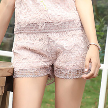 New Bud silk shorts female flowers hollow out the summer 2017 loose fashion joker loose hot shorts E0640(China)