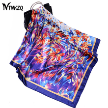 High quality 90X 90cm Square Silk Scarf Women Winter bandana Peony Chain Design Large Scarves Shawl Wraps Spring Autumn cachecol(China)