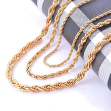 Width 2/4/6mm Stainless Steel Gold Rope Chain Necklace Statement Swag 316L Stainless Steel Twisted Necklace Chain Gold(China)