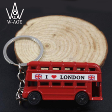 6pcs The British Double Decker Bus Alloy Key Chain Mini Toy Special Car KeyRing Keychains LONDON Travel Souvenir Gift 7048