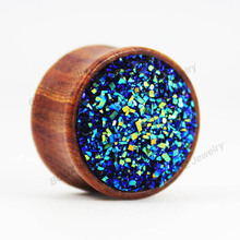2016 2pcs pair ear plugs piercing tunnel rosewood body jewelry with fashion stone ear gagues