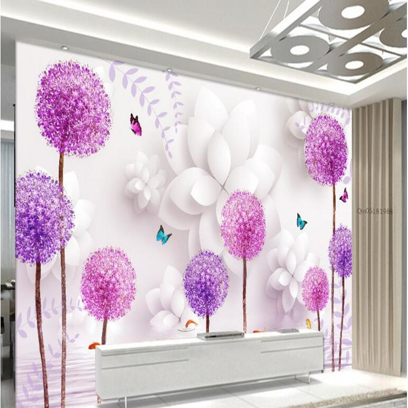 Large custom wallpaper three - dimensional flowers dandelion water reflection 3D TV background wall home decoration<br><br>Aliexpress