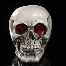 LED Skull Gothic Ornament Figurine Human Skeleton Head Halloween Decor #4
