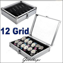 Best Deal USA 12 Grid Slots Watch Display Storage Box Case Jewelry Collection Organizer Holder Aluminum Square Silver Original