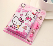 12*14.5cm Cute Hello Kitty Notebook with Ballpoint Pen Notepad Diary Book Exercise Book Escolar Papelaria School Office Supply(China)