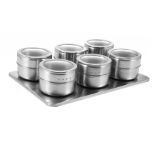 Useful 6pcs Stainless Steel Magnetic Seasoning Pot Cruet Condiments Spice Rack Pots Set For Spice Pepper Shakers Kitchen Tools(China)
