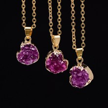 New Quartz Crystal Necklace Heart Shape Gold Chains Drusy Rose Red Natural Stone Pendant Necklaces Fashion Jewelry