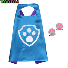 Ryder Children Cape+dog Paw Footprint Sets Performance Costumes Halloween Props Kids Unisex Superman Birthday Party Supplies