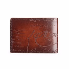 TERSE_Good Selling Card Wallet Handmade Leather Bag Genuine Leather Driving License Card Holder Lettering Wallet OEM/ODM