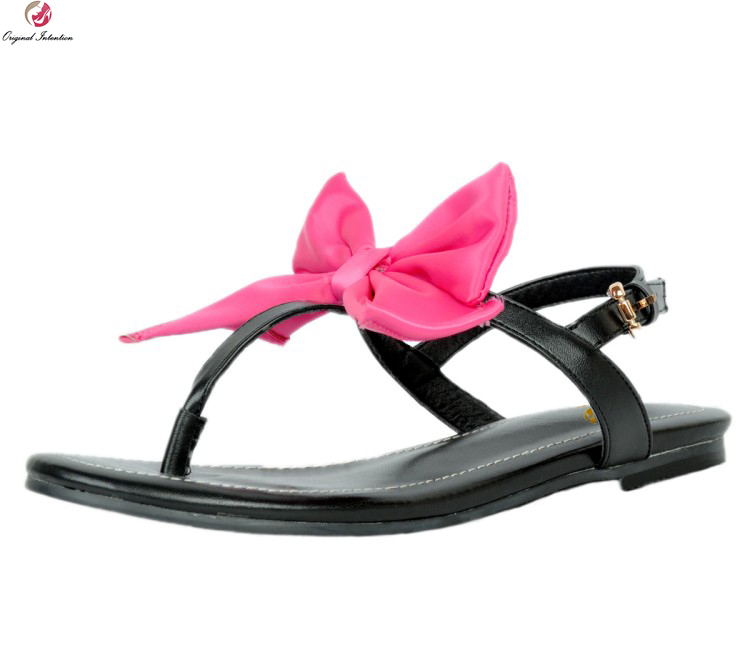 Original Intention Fashion Women Sandals Butterfly-knot Open Toe Flat With Heels Sandals Nice Black Shoes Woman Plus Size 4-15<br>