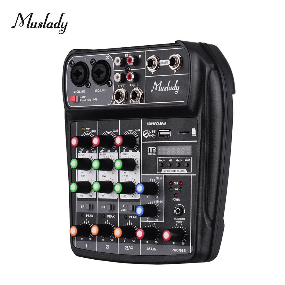 Muslady Mini Mezclador de Audio Est/éreo con Entradas RCA de 4 Canales Controles de Volumen Separados Carcasa Met/álica Completa