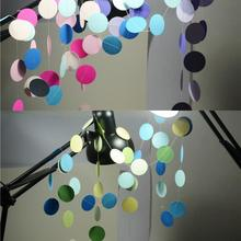 2016 Long Paper Garland Ornaments Curtain Wall Pop Disc Holiday Party Wedding Room Classroom Decor Wall Decorations 2m