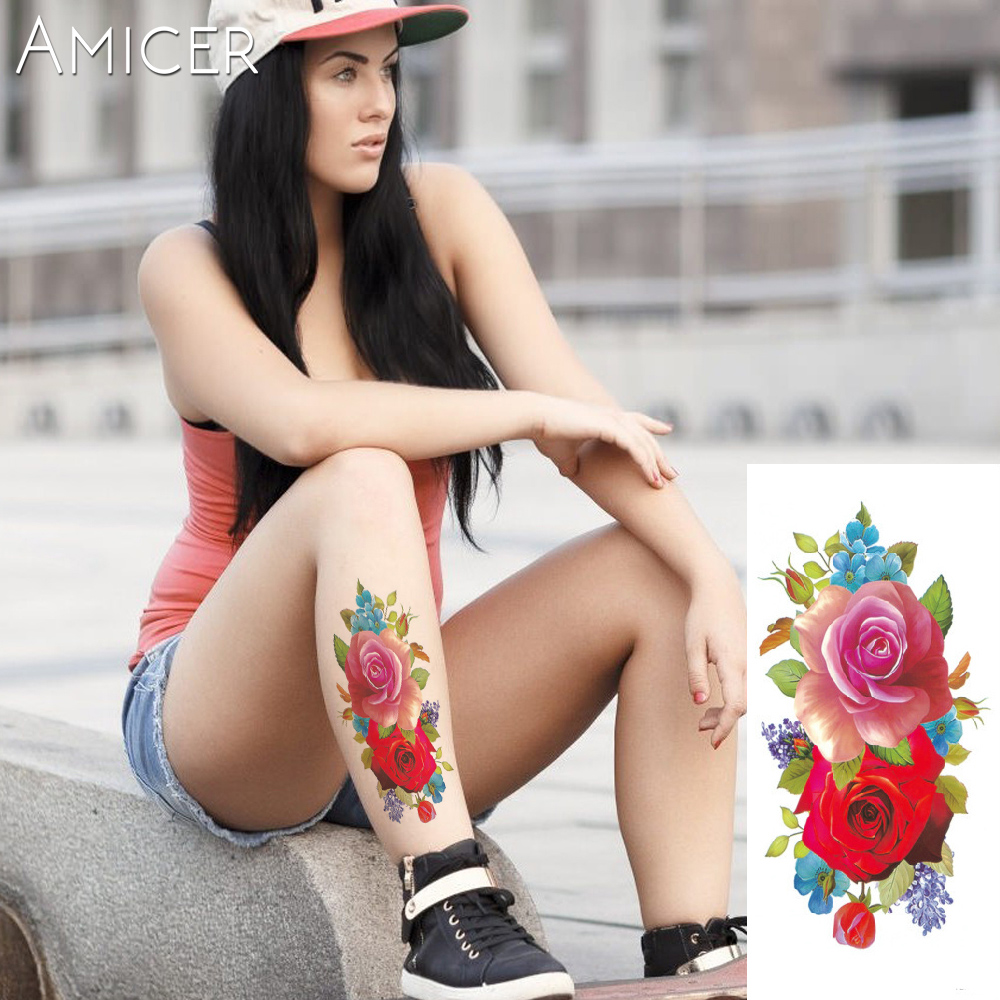 3D lifelike Cherry blossoms rose big flowers Waterproof Temporary tattoos women flash tattoo arm shoulder tattoo stickers 11