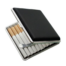 High Quality Metal Frame Black Faux Leather Cigarette Storage Case Box Container for Lighter Holds 84mm cigarettes Cases