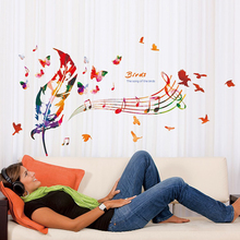 Colorful Feather Butterfly Music Notes DIY Wall Sticker Living Room Wall Decor Art Bedroom Nursery Mural Decals Vinyl Stickers