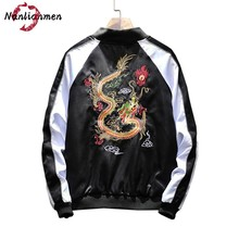 2017 New Chinese Style Dragon Embroidered Jackets Men veste homme hip hop jacket men's Bomber Jacket Coat chaqueta hombre(China)
