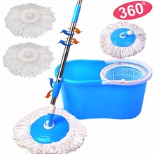 Goplus Magic Spin Mop Bucket Microfiber Rotating 360 Com Balde Easy Mops Floor Cleaning 2 Heads Household Mop Bucket Set CL11238(China)