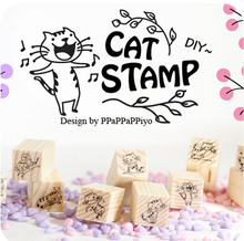 12pcs/set  DIY Scrapbooking Vintage Wood Stamps Decoration Creative Cat Stamp Set Gift JJ0057