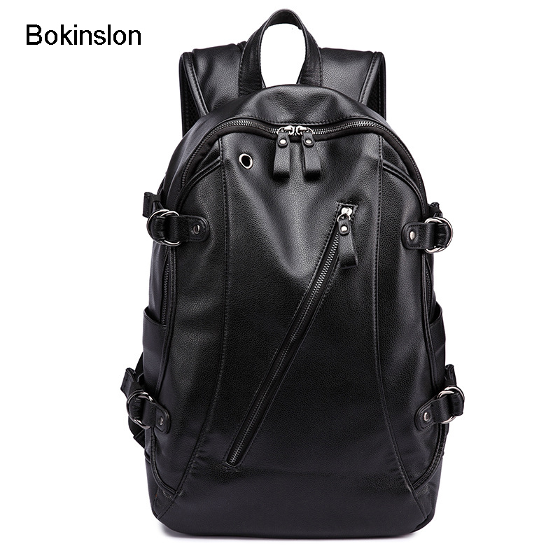 Bokinslon Men Retro Backpacks PU Leather College Wind Fashion Backpacks For Man Popular Solid Color Male Backpacks Bags <br>