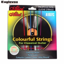 Colorful Classical Guitar Strings Colorful Nylon Colorful Coated Copper Alloy Wound 0285 044 inch Alice A107C(Hong Kong)
