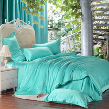 Luxury solid turquoise blue green silk  bedding set king size queen duvet cover bed sheets sheet bedspread quilt linen