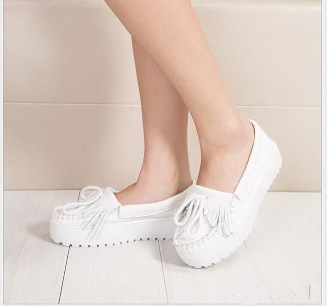 Women White genuine leather Flats Women Platform Cow Leather Nurse Shoes Female Slip-on Loafers Size 34-40 Women Flats<br><br>Aliexpress
