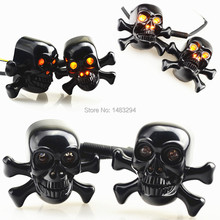 LED Black Custom Skull Front Turn Signal Light Blinkers Fits For Harley Crusier Chopper Motorcycle