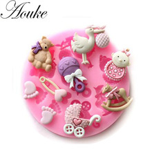 3D Food Silicone Baby/Bear/Foot/Birds Shape Fondant molds, soap candle sugar craft tools chocolate bakeware By Handmade C057