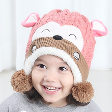 2017 new baby hat 3 size 1-4 year old boy girl knitting fashion monkey hat child winter hat cute child hat baby ear hat