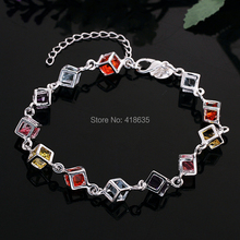 The Latest Hotsale Fashion Lovely silver Plated Multi-color Cube Bracelets For Women