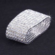 2017 Direct Selling Real Link Chain Round Trendy Women 9 Row Bling Rhinestone Stretch Bangle Bracelet Wedding Bridal Wristband(China)
