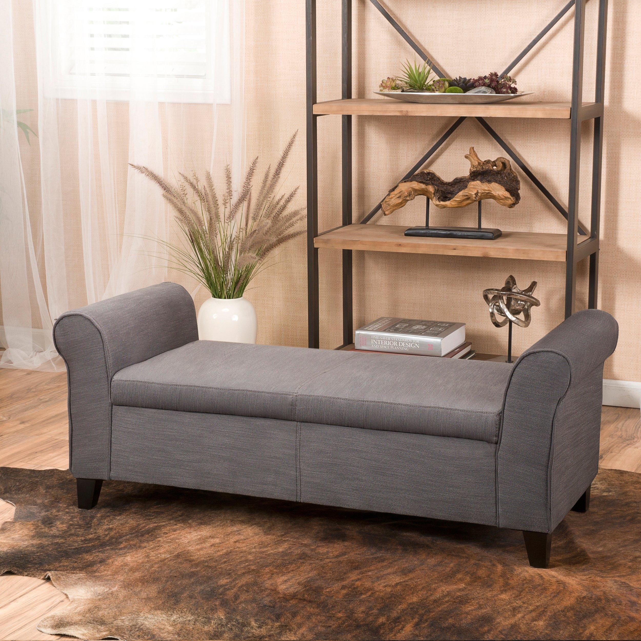 Danbury Grey Fabric Armed Storage Ottoman Bench (1)