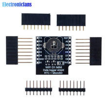 RTC DS1307 Real Time Clock DataLog Shield for Micro SD WeMos D1 mini+RTC DS1307 Clock With Pin-headers Set For Arduino/Raspberry(China)