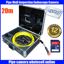 "Free Shipping 20M Cable Drain Sewer Waterproof Pipe Camera Pipeline Inspection system 7"" LCD DVR System 6Pcs White LED Lights"