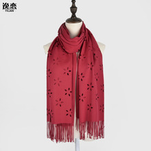 YI LIAN Brand Hotsale Top Quality Flower Graphics Hollow Out Scarf Top Quality Cotton Winter Women Tassel Scarf 6 Color SP003(China)