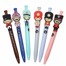 6 Pcs Lovely Press Ball Point Pen Cartoon Creative United Kingdom Soldier Ball Point Pen Office School Supplies