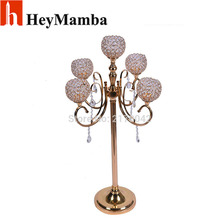 10pcs/lot 5-arms Gold Plated Crystal Candelabras Metal Candle Holder Stand Wedding Decor Romantic 100cm Candlelight Candlesticks