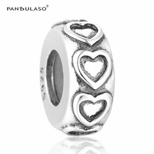 Pandulaso Love Heart Stopper Spacer Beads Fit  Charms Silver 925 Original Bracelets Women DIY Beads for Jewelry Making