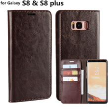 "Deluxe Wallet Case For Samsung Galaxy S8 Plus Genuine Cow Leather Case Flip Cover Phone Bags for Galaxy S8 5.8"" & 6.2"""