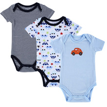 3 Pieces/lot Baby Romper Set Blue Car Designed Short Sleeved Jumpsuits Infant Clothing Baby Product