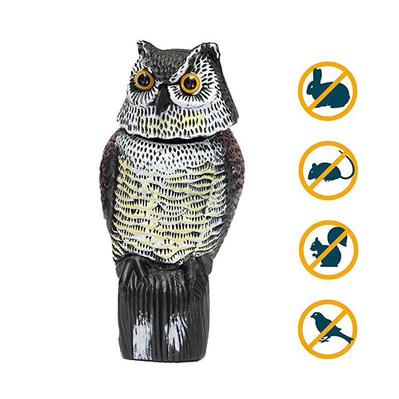 Great Realistic Owl Decoy Rotary Head Pest Control Weed Plants Scarecrow Crow Decoy Lifelike Garden Yard 2018 Bird Scarer title=