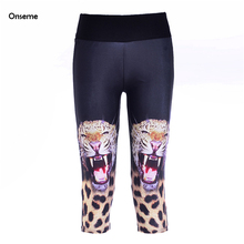 Fitness Leggins Women Cropped Sweat Legging Workout Capri Pants Bodybuilding Trousers High Waist Leggin Leopard Pant CJO-285