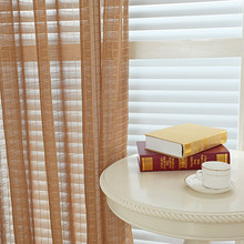 Window Tulle Curtains for Living Room Bedroom Customize Plaid White Pink Grey Chocolate Sheer Voile Kitchen Curtains Home Decor(China)
