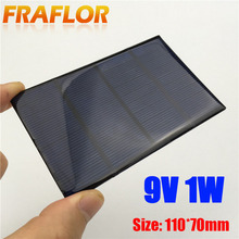 Hot Sale 9V 1W Polycrystalline Silicon Poly Epoxy Solar Panel Small Solar Cell PV Module For DIY Solar Display Light 110x70mm